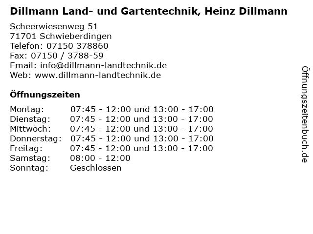 Dillmann Land- und Gartentechnik, Heinz Dillmann in Schwieberdingen: Adresse und Öffnungszeiten