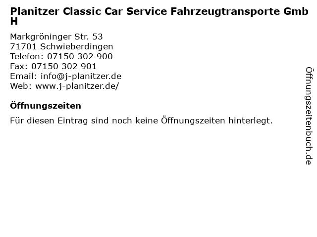 Planitzer Classic Car Service Fahrzeugtransporte GmbH in Schwieberdingen: Adresse und Öffnungszeiten