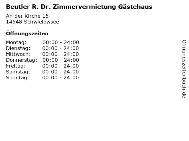 Beutler R. Dr. Zimmervermietung Gästehaus in Schwielowsee: Adresse und Öffnungszeiten