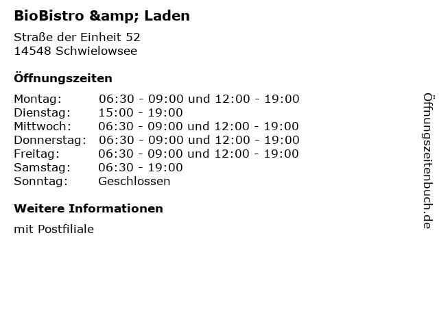 BioBistro & Laden in Schwielowsee: Adresse und Öffnungszeiten