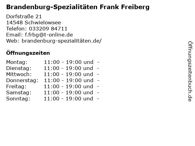 Brandenburg-Spezialitäten Frank Freiberg in Schwielowsee: Adresse und Öffnungszeiten