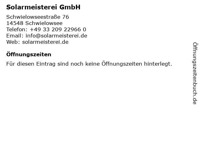 Solarmeisterei GmbH in Schwielowsee: Adresse und Öffnungszeiten