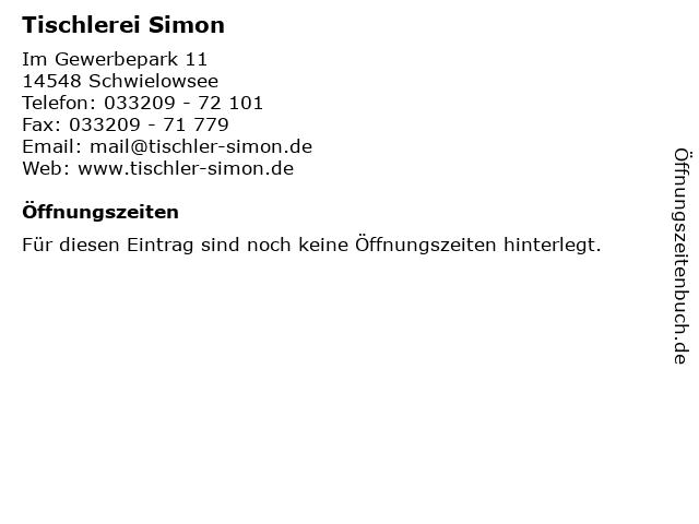 Tischlerei Simon in Schwielowsee: Adresse und Öffnungszeiten