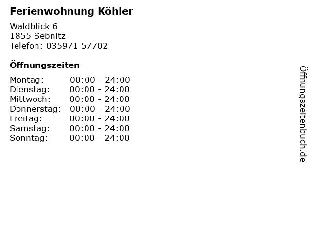 Ferienwohnung Köhler in Sebnitz: Adresse und Öffnungszeiten