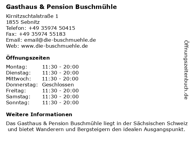 Gasthaus & Pension Buschmühle in Sebnitz: Adresse und Öffnungszeiten