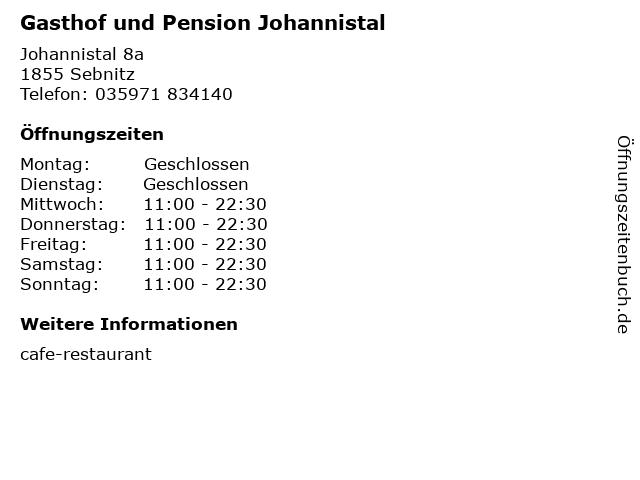 Gasthof und Pension Johannistal in Sebnitz: Adresse und Öffnungszeiten