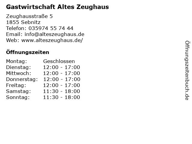 Gastwirtschaft Altes Zeughaus in Sebnitz: Adresse und Öffnungszeiten