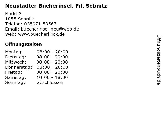 Neustädter Bücherinsel, Fil. Sebnitz in Sebnitz: Adresse und Öffnungszeiten