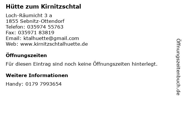 Hütte zum Kirnitzschtal in Sebnitz-Ottendorf: Adresse und Öffnungszeiten