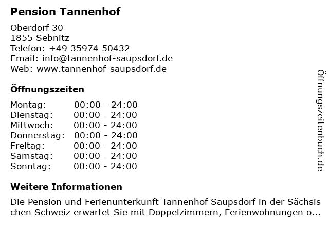 Pension Tannenhof in Sebnitz: Adresse und Öffnungszeiten
