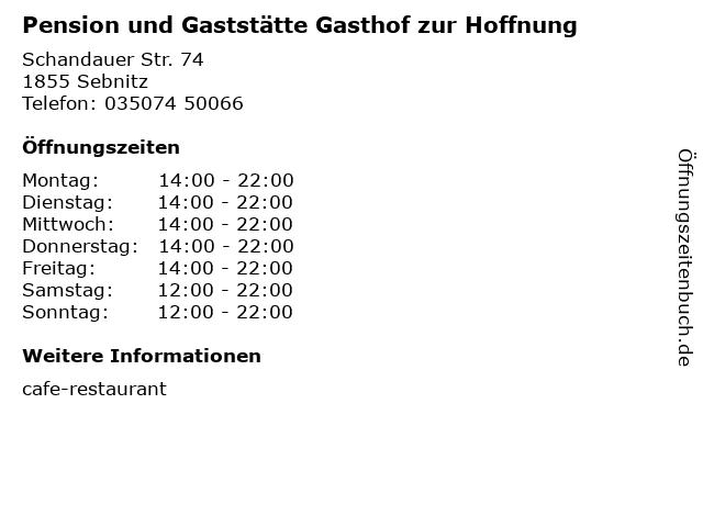 Pension und Gaststätte Gasthof zur Hoffnung in Sebnitz: Adresse und Öffnungszeiten