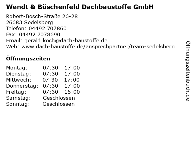Wendt & Büschenfeld Dachbaustoffe GmbH in Sedelsberg: Adresse und Öffnungszeiten