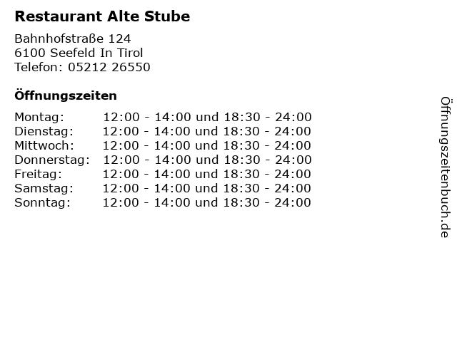 Restaurant Alte Stube in Seefeld In Tirol: Adresse und Öffnungszeiten