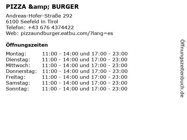 PIZZA & BURGER in Seefeld in Tirol: Adresse und Öffnungszeiten