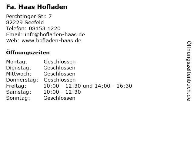 Fa. Haas Hofladen in Seefeld: Adresse und Öffnungszeiten