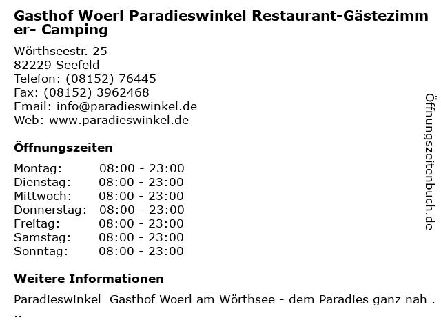 Gasthof Woerl Paradieswinkel Restaurant-Gästezimmer- Camping in Seefeld: Adresse und Öffnungszeiten