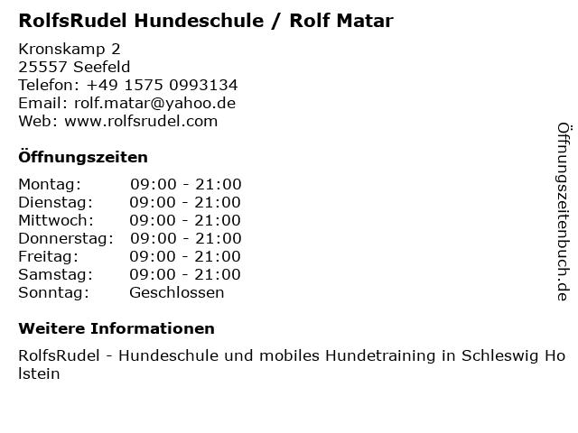 RolfsRudel Hundeschule / Rolf Matar in Seefeld: Adresse und Öffnungszeiten