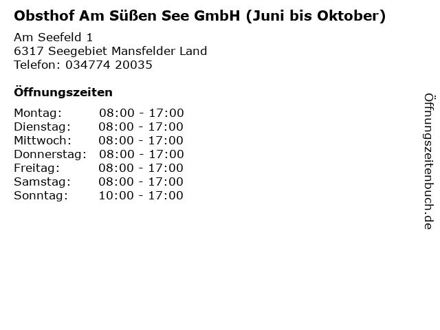 Obsthof Am Süßen See GmbH (Juni bis Oktober) in Seegebiet Mansfelder Land: Adresse und Öffnungszeiten