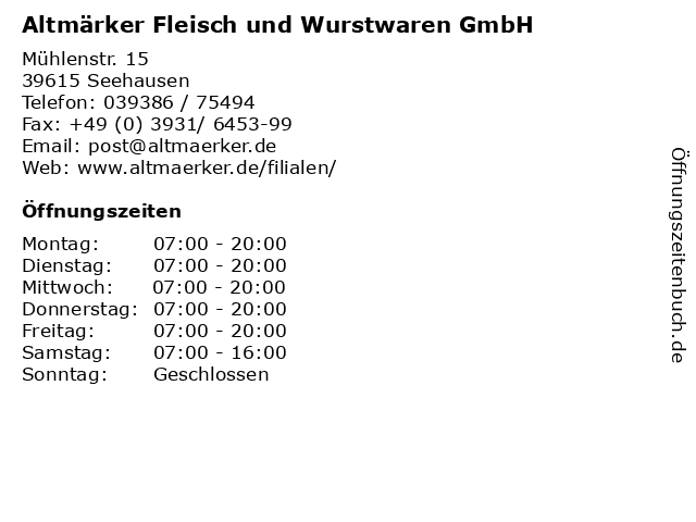 Altmärker Fleisch und Wurstwaren GmbH in Seehausen: Adresse und Öffnungszeiten