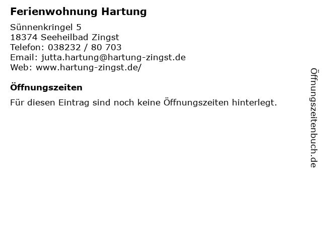 Ferienwohnung Hartung in Seeheilbad Zingst: Adresse und Öffnungszeiten