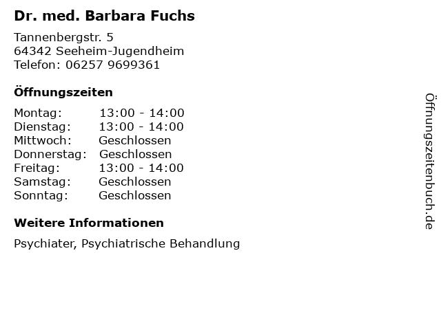 Dr. med. Barbara Fuchs in Seeheim-Jugendheim: Adresse und Öffnungszeiten