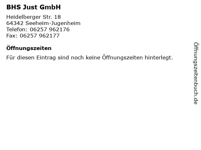 BHS Just GmbH in Seeheim-Jugenheim: Adresse und Öffnungszeiten