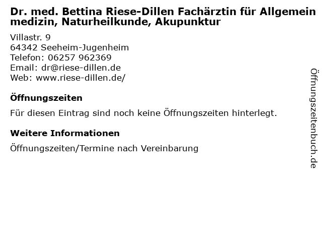 Dr. med. Bettina Riese-Dillen Fachärztin für Allgemeinmedizin, Naturheilkunde, Akupunktur in Seeheim-Jugenheim: Adresse und Öffnungszeiten