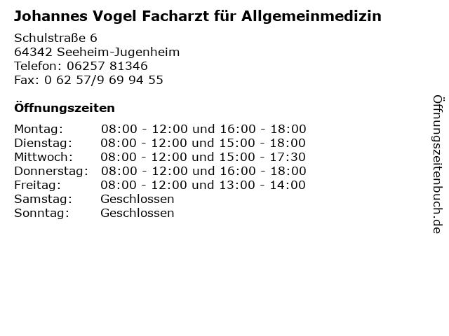 Johannes Vogel Facharzt für Allgemeinmedizin in Seeheim-Jugenheim: Adresse und Öffnungszeiten