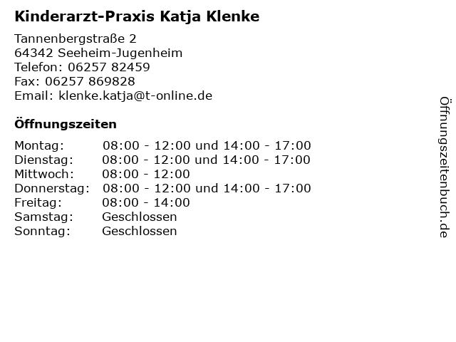 Kinderarzt-Praxis Katja Klenke in Seeheim-Jugenheim: Adresse und Öffnungszeiten