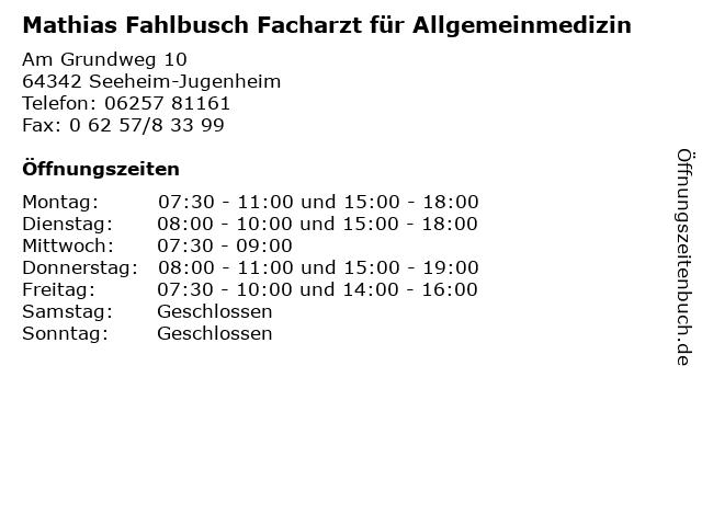 Mathias Fahlbusch Facharzt für Allgemeinmedizin in Seeheim-Jugenheim: Adresse und Öffnungszeiten