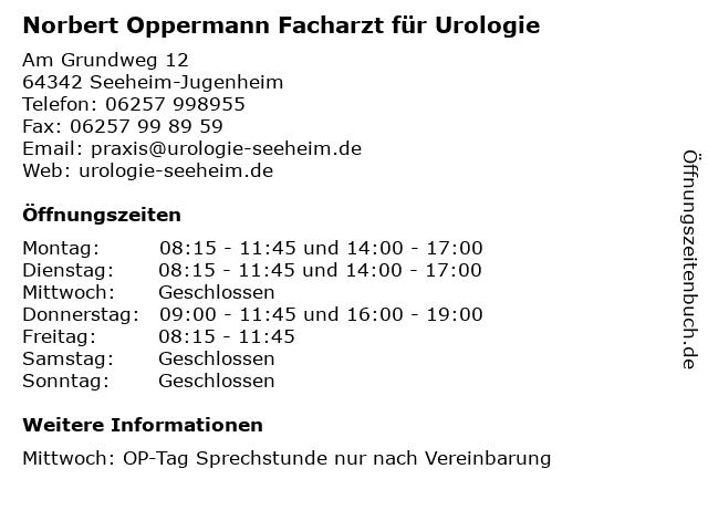Norbert Oppermann Facharzt für Urologie in Seeheim-Jugenheim: Adresse und Öffnungszeiten