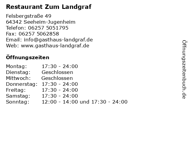 Restaurant Zum Landgraf in Seeheim-Jugenheim: Adresse und Öffnungszeiten