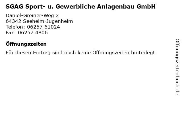SGAG Sport- u. Gewerbliche Anlagenbau GmbH in Seeheim-Jugenheim: Adresse und Öffnungszeiten