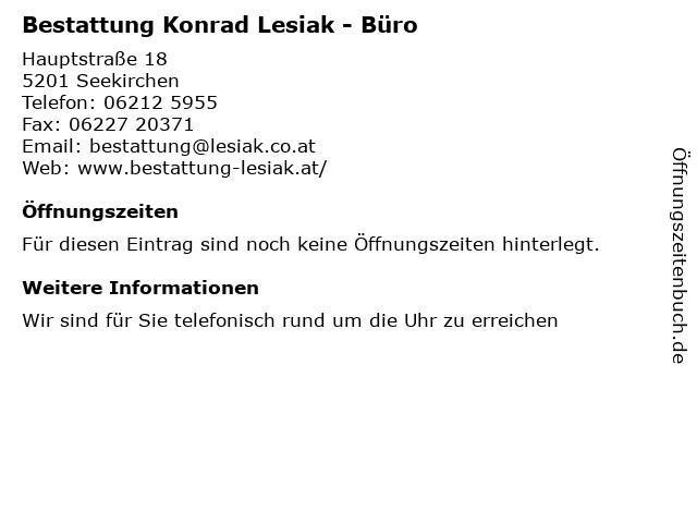 Bestattung Konrad Lesiak - Büro in Seekirchen: Adresse und Öffnungszeiten