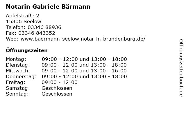Notarin Gabriele Bärmann in Seelow: Adresse und Öffnungszeiten