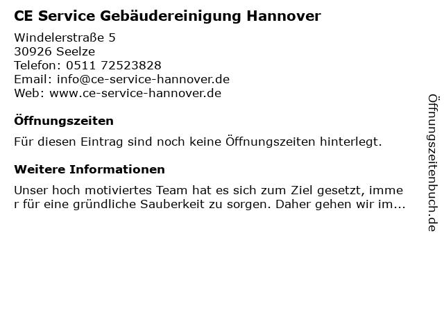 CE Service Gebäudereinigung im Raum Hannover in Seelze: Adresse und Öffnungszeiten