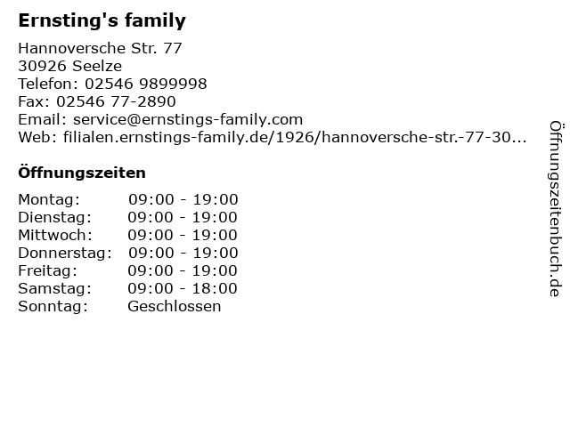 Ernsting's family in Seelze: Adresse und Öffnungszeiten