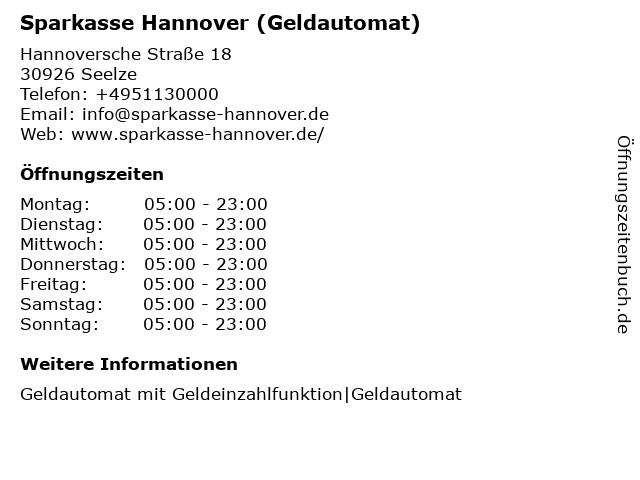 Sparkasse Hannover - (Geldautomat Filiale) in Seelze: Adresse und Öffnungszeiten