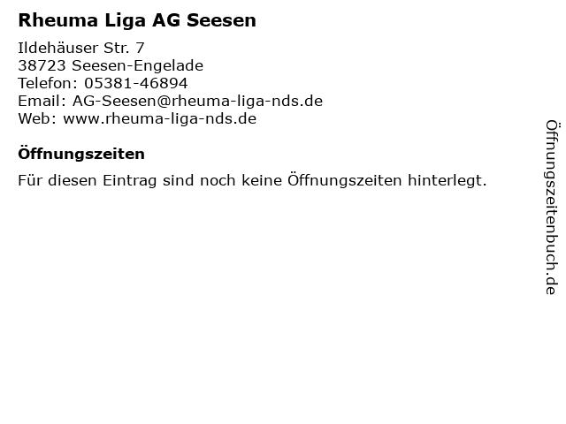 Rheuma Liga AG Seesen in Seesen-Engelade: Adresse und Öffnungszeiten