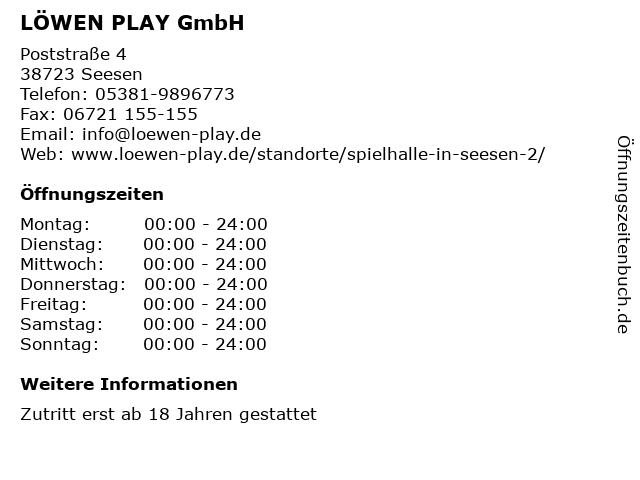 LÖWEN PLAY GmbH in Seesen: Adresse und Öffnungszeiten