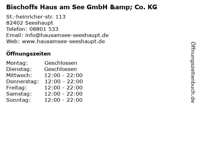 Bischoffs Haus am See GmbH & Co. KG in Seeshaupt: Adresse und Öffnungszeiten