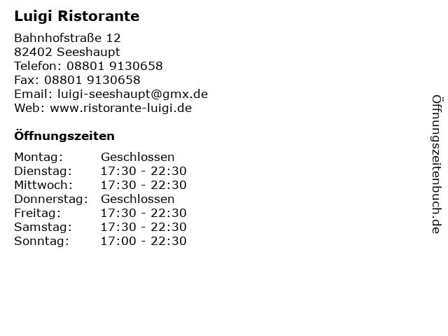 Luigi Ristorante in Seeshaupt: Adresse und Öffnungszeiten