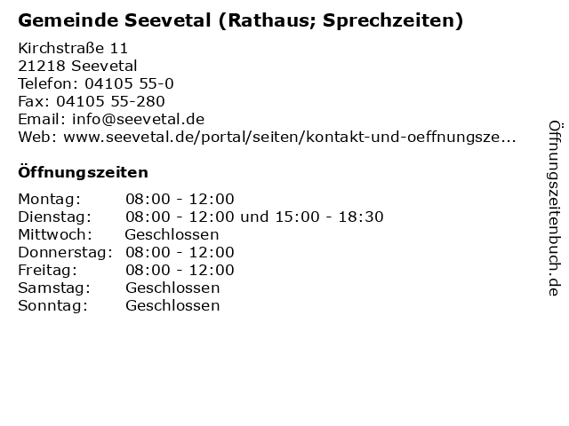 Gemeinde Seevetal (Rathaus; Sprechzeiten) in Seevetal: Adresse und Öffnungszeiten