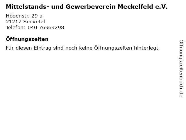 Mittelstands- und Gewerbeverein Meckelfeld e.V. in Seevetal: Adresse und Öffnungszeiten