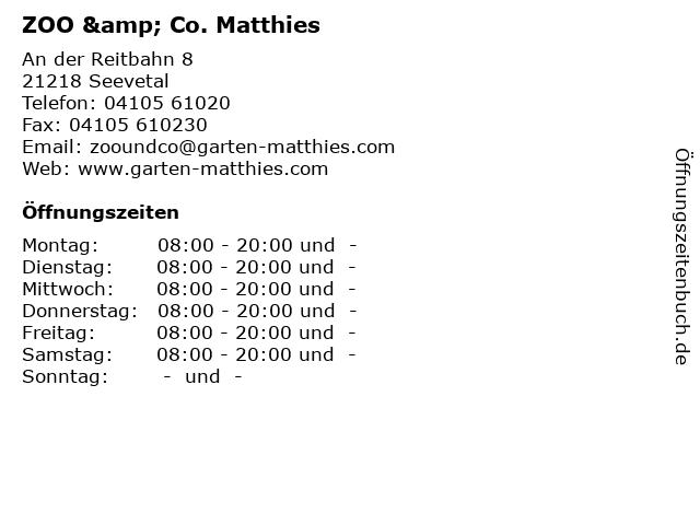 ZOO & Co. Matthies in Seevetal: Adresse und Öffnungszeiten