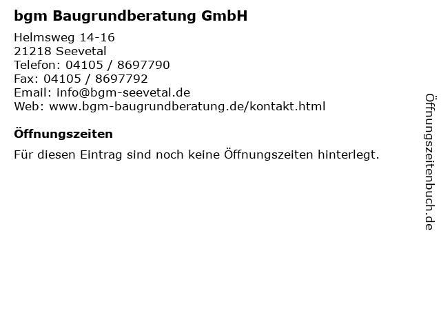 bgm Baugrundberatung GmbH in Seevetal: Adresse und Öffnungszeiten