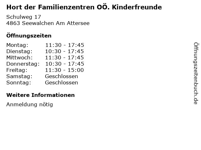 Hort der Familienzentren OÖ. Kinderfreunde in Seewalchen Am Attersee: Adresse und Öffnungszeiten