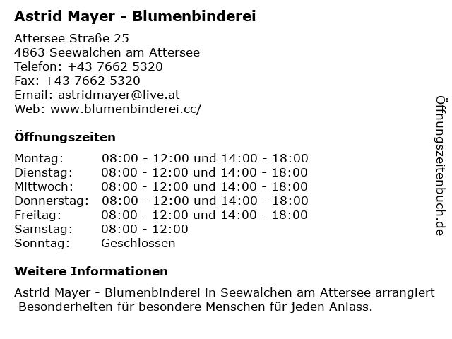 Astrid Mayer - Blumenbinderei in Seewalchen am Attersee: Adresse und Öffnungszeiten