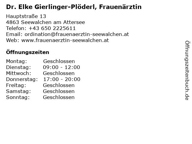 Dr. Elke Gierlinger-Plöderl, Frauenärztin in Seewalchen am Attersee: Adresse und Öffnungszeiten