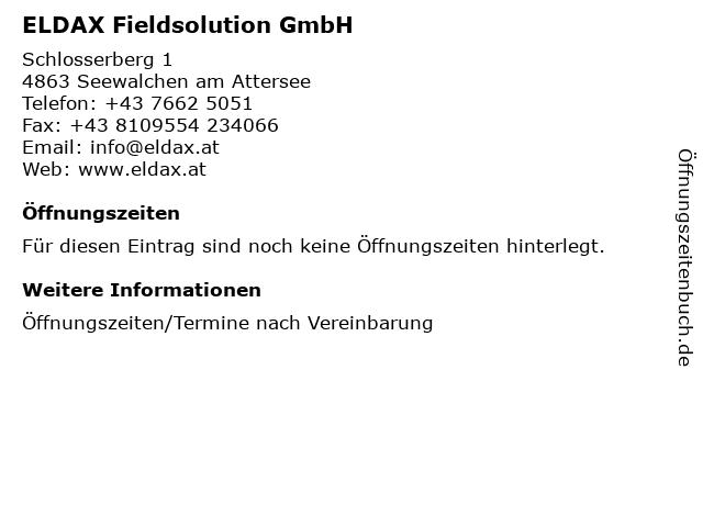 ELDAX Fieldsolution GmbH in Seewalchen am Attersee: Adresse und Öffnungszeiten